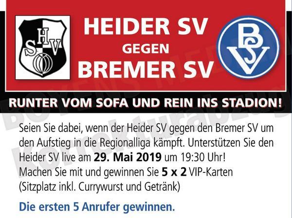 VIP-Karten Verlosung für Aufstiegsspiel Heider SV gewinnen - abgelaufen