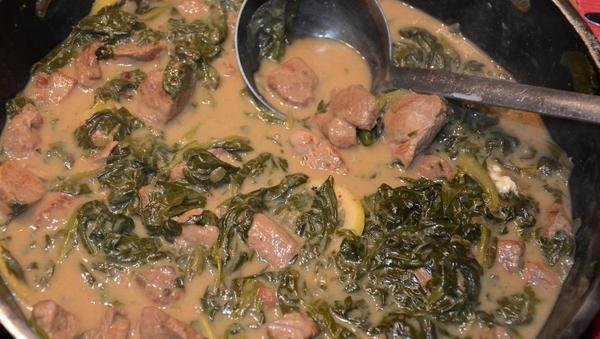 Lammragout mit Spinat