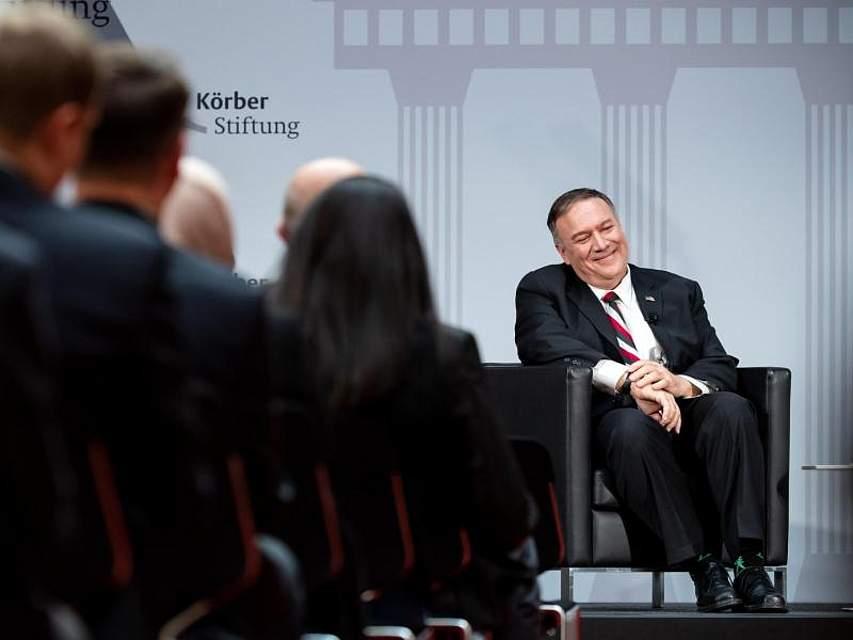 US-Außenminister Mike Pompeo ist auf Deutschland-Besuch. Beim «Körber Global Leaders Dialogue» beantwortet Trumps Chefdiplomat Fragen des Publikums. Foto: Bernd von Jutrczenka/dpa