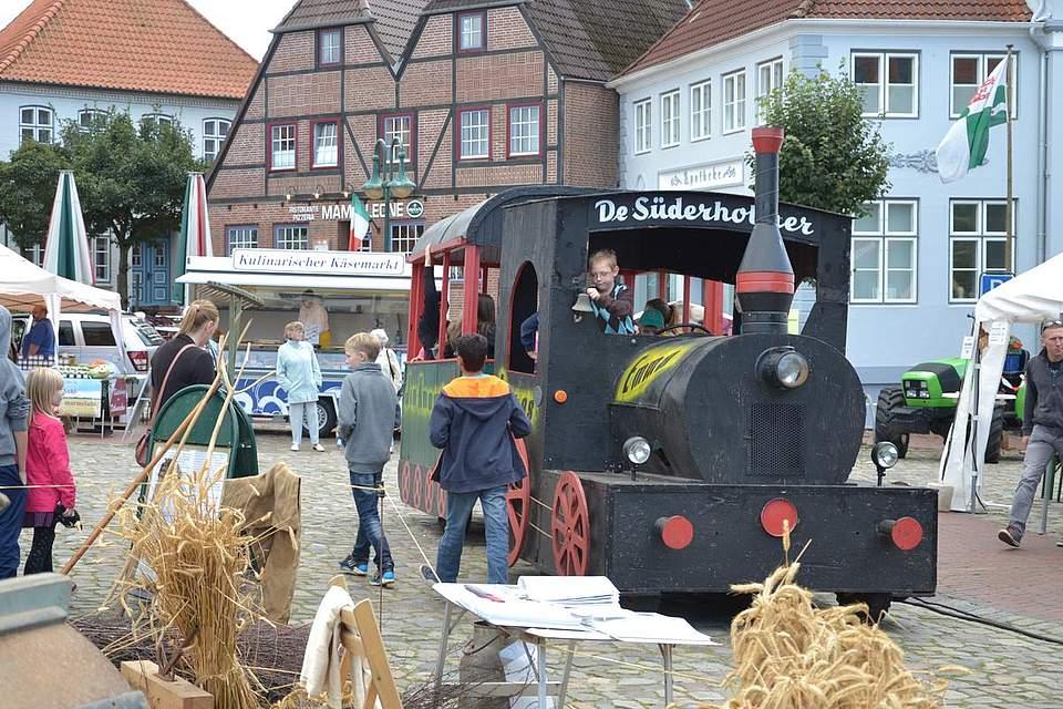 Meldorfer Kohlvergnügen: Kinder haben Spaß bei einer Fahrt mit dem Treckerzug.