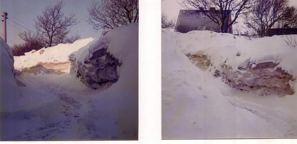 """Schneewinter in Dithmarschen. Zu ihrem Foto schreiben Renate und Georg Dreier aus Neuenkirchen: """"Wir wohnten damals in der Holstenstraße 66 in Wesseln. Das Haus stand in einer Kuhle sozusagen, wir mussten uns den Weg zur Straße hoch freischaufeln (knapp drei Meter hoch). Mindestens zwei Tage war das Dorf eingeschneit. THW, Feuerwehr und viele Dorfbewohner haben die Holstenstraße freigeschaufelt. Einkaufen war nur über die Schneewehen und mit Schlitten zu Fuß zu schaffen. Im Garten haben die Kinder einen Iglu gebaut. Es war ein Erlebnis."""""""