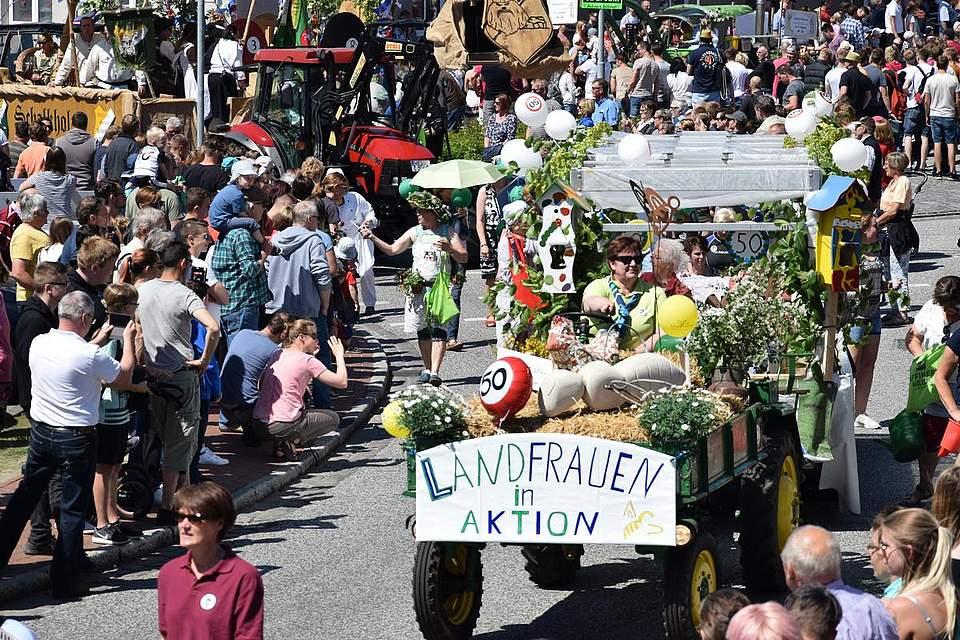 Mit ihrem Jubiläumswagen holten die Landfrauen aus Albersdorf und Umgebung den dritten Platz. Foto: Büsing