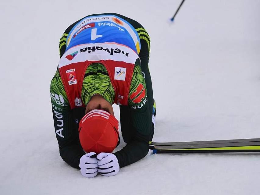 Erschöpft, aber glücklich: Der deutsche NordischeKombiniererEric Frenzel hat bei denTitelkämpfen in Seefeld seinen sechstenWeltmeister-Titel gewonnen.Foto: Hendrik Schmidt