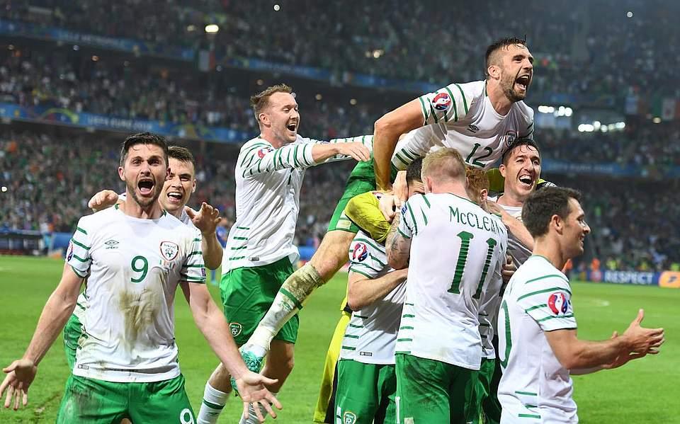 Irland feier den 1:0-Erfolg gegen Italien. Foto: Becker