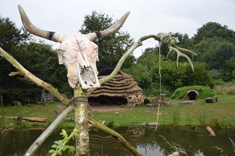 Den Eingang des wissenschaftlichen Steinzeitlagers ziert ein Rinderschädel.