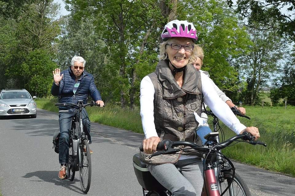 Gute Laune stand bei der Fahrradtour mit auf dem Programm.