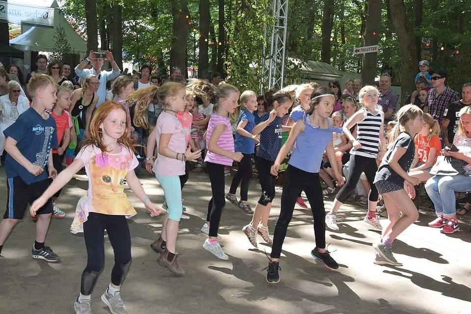 Die Sechs- bis Neunjährigen der mobilen Tanzschule Tietze zeigen ihr Können. Foto: Büsing