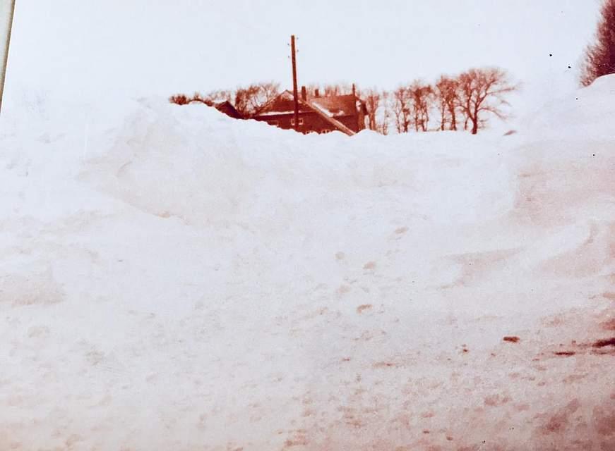 """Timm Hollmann aus Büsum schreibt: """"Mein Foto zeigt die """"Reste"""" unseres Hofes bei Büsum. Besonders in Erinnerung geblieben ist mir: ... die Versorgung unseres Viehbestandes mit Kraftfutter aus der Luft; ... die Schrotsäcke mussten wir auf Pferdedecken vom BGS-Hubschrauber über den Schnee zum Stall ziehen."""""""